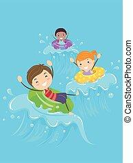 illustration, gosses, stickman, piscine, vagues, flotteur