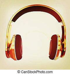 illustration., goud, ouderwetse , headphones, 3d, style., pictogram