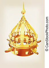 illustration., goud, ouderwetse , kroon, vrijstaand, achtergrond, witte , style., 3d