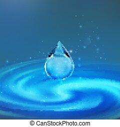 illustration., goutte, eau, vecteur, droplet., fond, scintillements, tomber, transparent, tourbillon