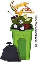 illustration, gouttes, déchets ménagers, organique, trash.
