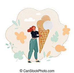 illustration, grand, vecteur, dessin animé, manger, illustration., ice-cream., girl, été