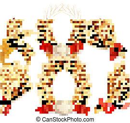 illustration., grand, wheat., collection, vecteur, oreilles