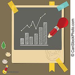 illustration., graphs., merkzettel, vektor, papiere,...