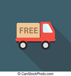 illustration, gratuite, livraison, vecteur, long, ombre, icône