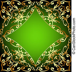 green background frame with gold ornamentation -...