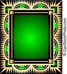 green background frame with gold(en) pattern