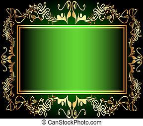 green background frame with vegetable gold(en) pattern