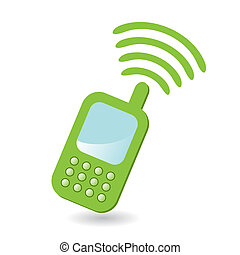 telephone - Illustration, green cellular telephone on white...