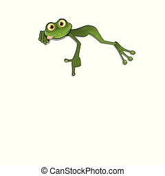 Illustration Green Frog on a White Background