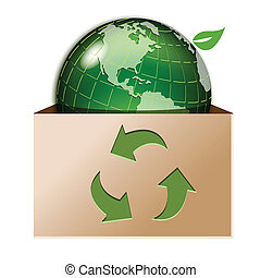 illustration, green globe in box with arrow