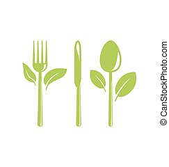 Healthy Food Icon with Cutlery and Leaves