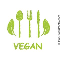 Illustration Green Healthy Food Icon with Cutlery and Leaves - Vector