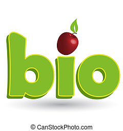 Illustration, green inscription bio with red apple