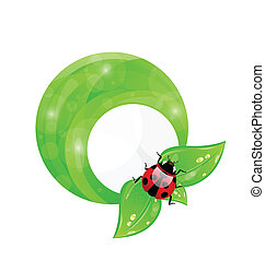 Illustration green round frame with leaf elements and ladybug, eco friendly background - vector