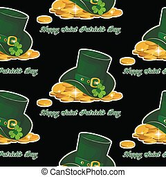 illustration, green St. Patrick s Day hat with clover