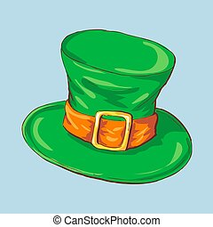 illustration, green St. Patrick s Day hat with