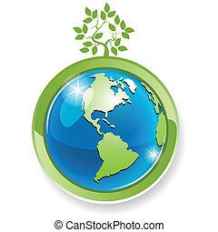 tree on globe