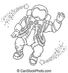 Illustration greeting astronaut in an orange space suit and ...