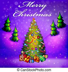 Illustration greeting card on with decorated Christmas tree and gifts