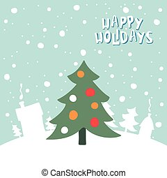 Greeting card with a picture of Christmas tree on snowy background.