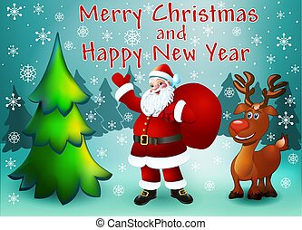 Illustration greeting card with Christmas trees Santa with gifts and reindeer