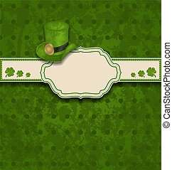 greeting card with clovers and hat for St. Patrick's Day