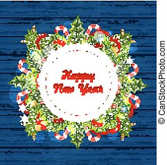 Greeting Card with Decoration for Happy New Year -...