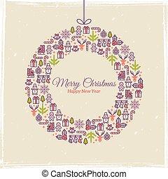 illustration., greetings., wektor, rok, nowy, kartka na boże narodzenie, design.