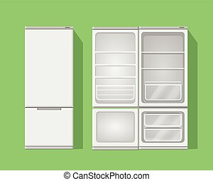Illustration grey opened and closed empty refrigerator.Vector fridge icon