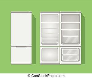 Illustration grey opened and closed empty refrigerator.Vector fridge icon