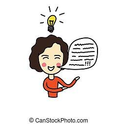 illustration, griffonnage, icône, couleur, personne, idée, vecteur