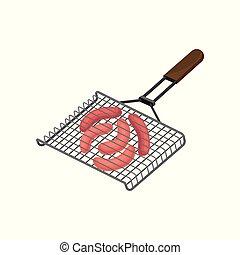 illustration, grille, vecteur, saucisses, fond, grillé, barbecue, blanc