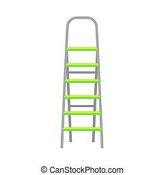 illustration, gris, plier, clair, vert, étapes, échelle, vecteur