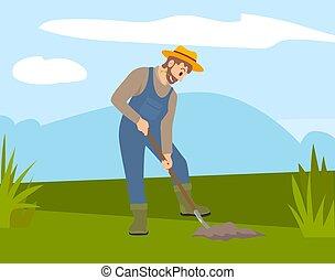 illustration., grond, schop, man, het planten van bomen, gat...
