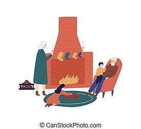 illustration., grootouders, paar, openhaard, tijd, characters., celebration., kerstmis, vector, kleinkinderen, avond, plat, spotprent, kerstmis, oma, bezoeken, bejaarden, het genieten van, cozy, opa
