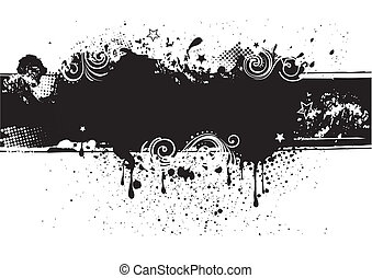 illustration-grunge, 矢量, 往回, 墨水