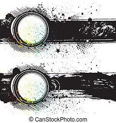 illustration-grunge, vecteur, dos, encre