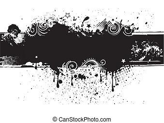 illustration-grunge, vektor, baksida, bläck