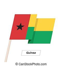 illustration., guinea, aislado, bandera ondeante, vector, white., cinta