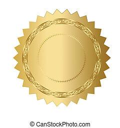 illustration, guld försegla