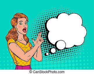 illustration, gun., affiche, femme, art, épingle, bubble., vendange, banner., haut, pop, joyeux, vecteur, poser, doigt, joli, affiche, parole, comique, girl, publicité