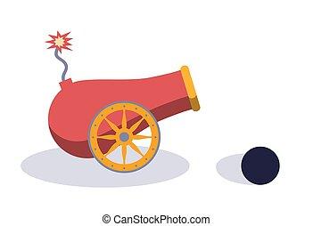 illustration., gun., vecteur, vendange
