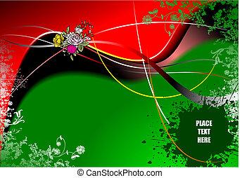 illustration., háttér., vektor, meghívás, virágos, kártya