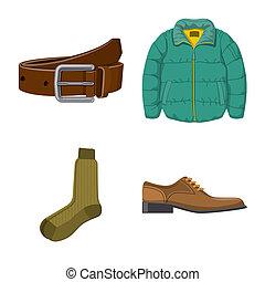 illustration., habillement, objet, isolé, collection, bitmap, usure, homme, logo., stockage