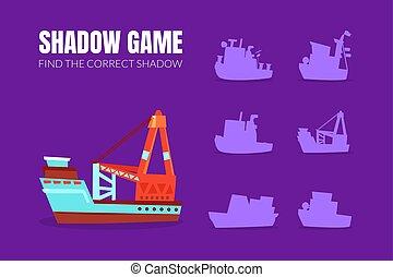 illustration., hajó, teherárú csónakázik, shadows., vektor