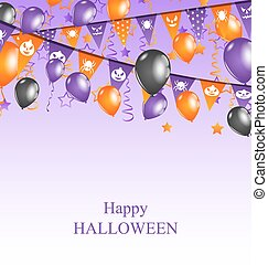 Halloween Background with Hanging Bunting