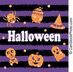 Halloween Party Banner with Shine Orange Traditional Icons