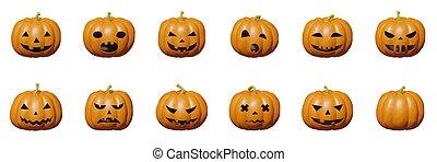 illustration, halloween, plastique, figure, citrouille, ensemble