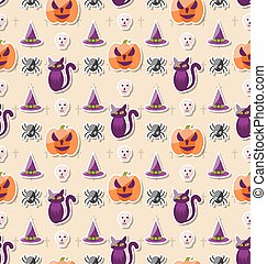 Halloween Seamless Pattern with Colorful Traditional Icons